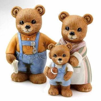 Set of Vintage Homco Porcelain Family Bear Figurines Mom Dad and Baby Teddy 1980s Home Decor Toy Collectibles