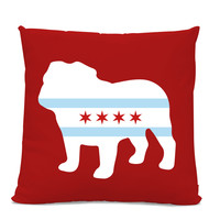 Chicago Flag Bulldog Pillow - Chicago Home Decor - Bulldog pillow - dog breed silhouette pillow - dog home decor - Dog Pillow
