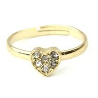 Knuckle Midi Ring Set Heart Gold
