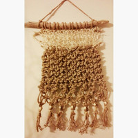 Hand Knitted with Macrame Sisal and Jute Wall Hanging on Driftwood READY TO SHIP