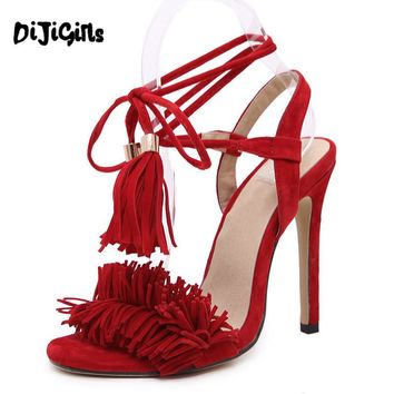 Women Summer Shoes High Heel sandals sexy Tassels women sandals gladiator Sandals Lace-Up dress party shoes for women and girl
