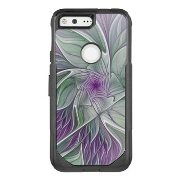 Flower Dream, Abstract Purple Green Fractal Art OtterBox Commuter Google Pixel Case