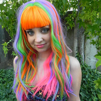 SHOP-WIDE SALE I Puke Rainbows / Neon Rainbow / Long Curly Wavy Wig