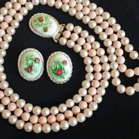 JAPAN Signed Peach Pearl & Flower Cameo Necklace and Earring Set Hollywood Regency 1950s Costume Jewelry Perfect For Spring