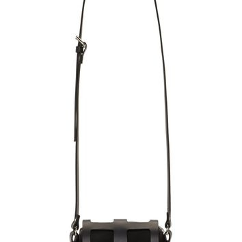 Fleet Ilya Black Leather Tiny Cage Shoulder Bag