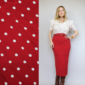 SALE - 80s/90s - Cherry Red & White - Polka Dot - High Waist - Fitted Wiggle - Back Slit - Maxi Skirt