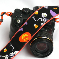 Skulls Camera Strap, Day of the Dead, dSLR Camera Strap, SLR, Nikon, Canon Camera Strap, Camera Accessories
