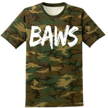 Baws Paint Army Camo Sneaker Tees Shirt - White Ink
