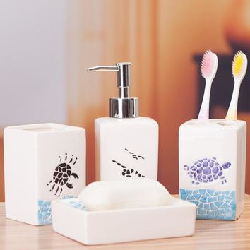 Marine style four-piece ceramic bathroom set toiletries toothbrush holder bathroom accessories bathroom amenities