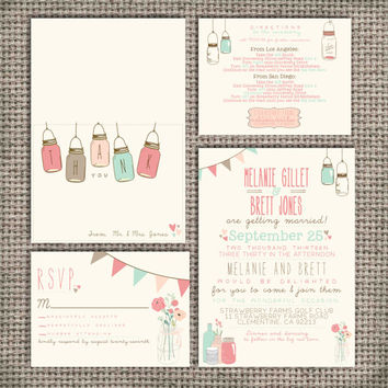 Wedding Invitation Suite Set DEPOSIT - Printable, Custom, DIY - Vintage, RUSTIC, Pretty, Jars, Barn Wedding, Spring (Wedding Design #10)