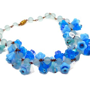 Blue Glass Beaded Glass Flower Necklace