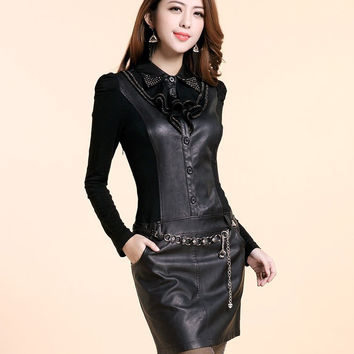 Hot Sale New 2016 Women Autumn Winter Sexy Club Sheath Faux Leather Notched Collar Knee-Length Plus Size Full Sleeve Dress LJ394