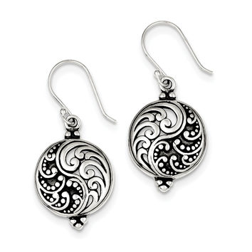 Sterling Silver Antique Filigree Yin and Yang Earrings QE3433
