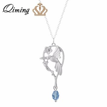QIMING gold Hummingbird Necklace Women Lover Engagement Jewelry Accessories Fashion Silver Lovely Bird Animal Necklace Bijoux