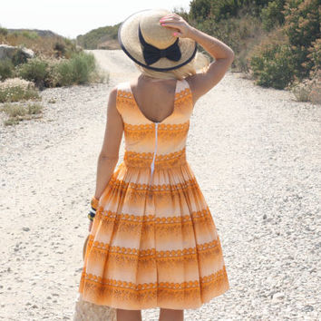Vintage 50s Dress/ 1950s Cotton Dress/ Orange & Tan Floral Geometric Print Sundress S/M