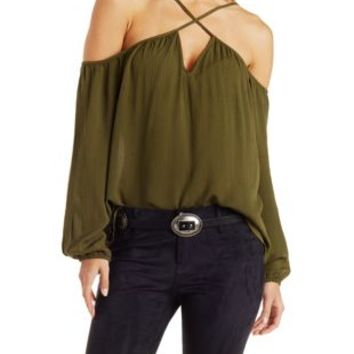 Caged Cold Shoulder Peasant Top by Charlotte Russe