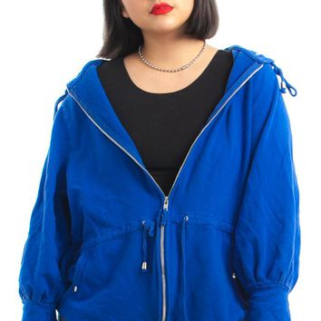 Vintage Y2K Blue Berry Hooded Sweater - One Size Fits Many