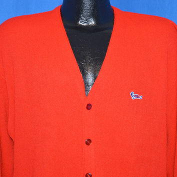 60s Red Acrylic Cardigan Sweater Extra Large