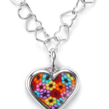 Colorful Romantic Necklace - Heart Pendant - Polymer Clay Jewelry - Millefiori - FREE SHIPPING