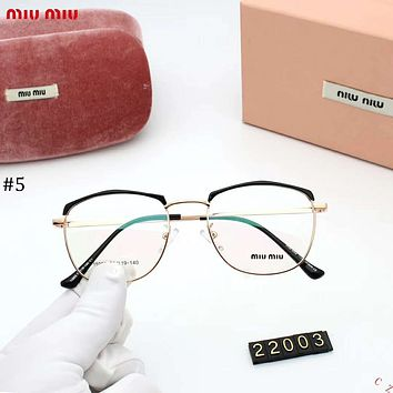 MIUMIU 2018 new retro metal glasses frame large box square flat mirror #5