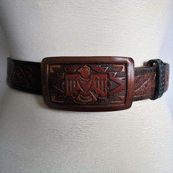 Vintage 90s Leather Belt Tooled Eagle Etched Brown 1990s Mexican Aztec Leather Mens Belt with Buckle Medium