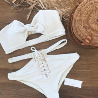 Summer New Fashion Solid Color Strapless Two Piece Bikini Swimsuit White