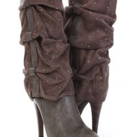 Grey Small Rhinestone Detailed High Ankle Boots @ Amiclubwear Boots Catalog:women's winter boots,leather thigh high boots,black platform knee high boots,over the knee boots,Go Go boots,cowgirl boots,gladiator boots,womens dress boots,skirt boots,pink boot