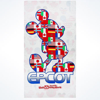 Disney Parks Epcot Mickey Flags Beach Towel New with Tags