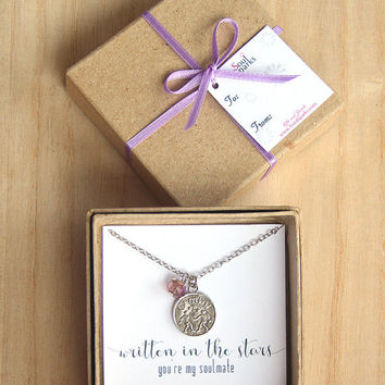 Best Friend, Soulmate, Gemini Zodiac Sign Necklace- Gemini Necklace, Light Amethyst Crystal, June Birthday Gift, Gemini Gift, Astrology Gift