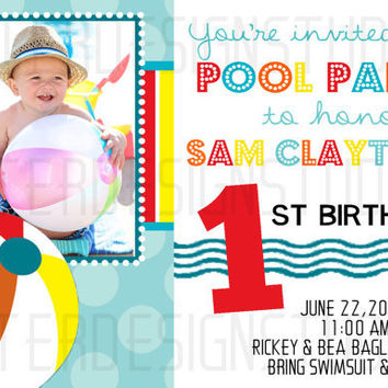 Pool Party Birthday Invitation - Printable