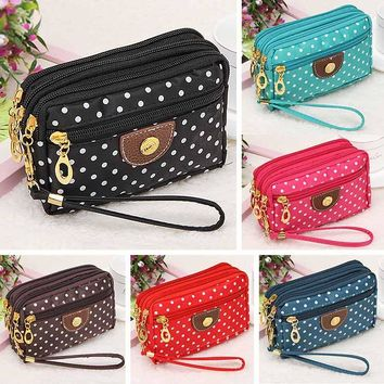 Women Wallets Short Handbags Canvas Dots Zipper Moneybags Clutch Coin Purse Wallet Cards Keys Bags Burse