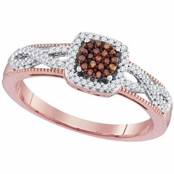 10k Rose Gold Women's Red Diamond Square Cluster Twist Ring - FREE Shipping (US/CA)