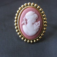 Rose and Gold Cameo Ring by ClassicInCameo on Etsy