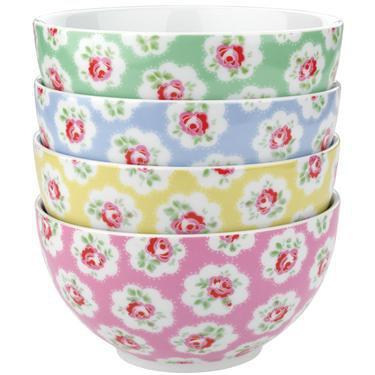 Cath Kidston - Set of 4 Provence Rose Cereal Bowls
