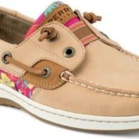 Sperry Top-Sider Rainbowfish Slip-On Boat Shoe Linen/FlamingoFloral, Size 7.5M  Women's Shoes