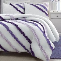 2-piece Soft White Purple Ruffled Comforter Set Twin Size