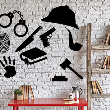 Wall Vinyl Decal Sherlock Holmes Private Detective Stuff Gun Home Decor Unique Gift z4027