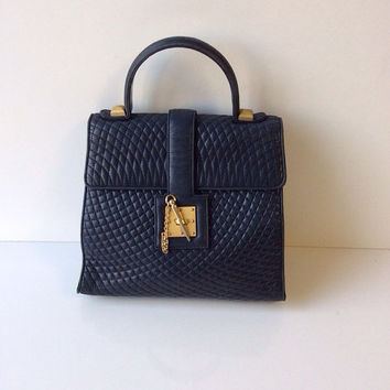 Bally Navy Lambskin Quilted Handbag