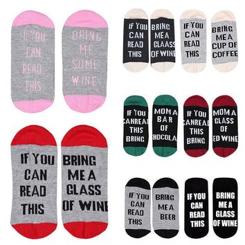 "Winter Custom Unisex Socks ""If You Can Read This Bring Me a Glass of Beer Wine''"