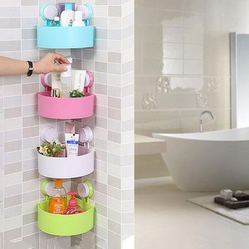 2017 New Bathroom Corner Shelf With Suction Shower Rack Organizer Cup Storage Wall Basket