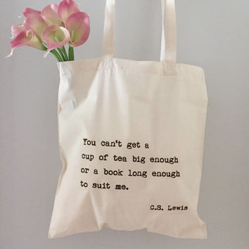 C.S. Lewis Tea and Books Quote Tote Bag/ Screen Printed Typewriter Text/ Tote bag for books, students, gift for bookworm, gift for tea lover