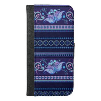 stylish blue floral pattern iPhone 6/6s plus wallet case
