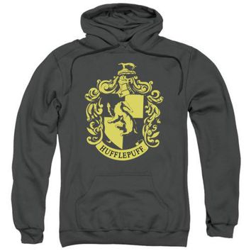 Harry Potter Hufflepuff Crest Charcoal Licensed Adult Hoodie