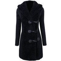 Turn Down Collar Long Sleeves Toggle-Front Hooded Coat