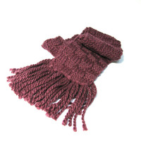 Basketweave Hand Knit Scarf - Purple Eggplant