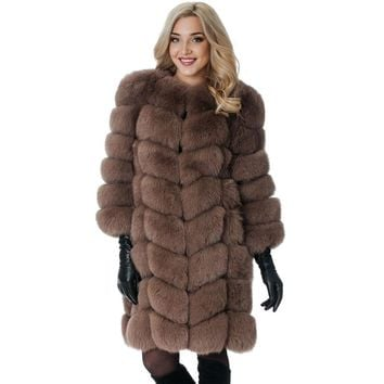 Leiouna Brown Long Fake Fox Fur Coat Winter Jackets Woman Warm Female Ladies Overcoat Furry Vintage Harajuku
