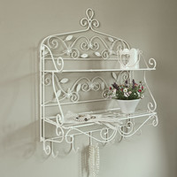 Cream bathroom shelves shelf rack storage french chic butterfly wall hanging