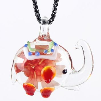 Elephant Glaze Glass Murano Necklace Glass Long Pendant Fashion Jewelry For Women  Animal Charm Collar Accessories