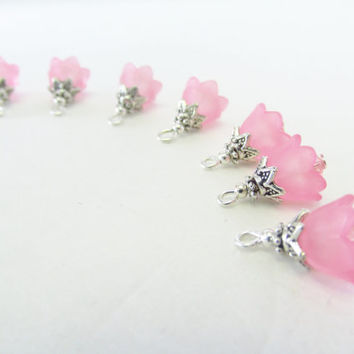 Pink Flower Cap Charms - 7 Pcs. Light Pink Lucite Crystal Charms - Handmade Beaded Charms - DIY Jewelry Parts - Crystal Jewelry Supplies