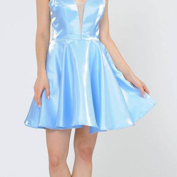 Baby Blue Criss-Cross Back Homecoming Short Dress